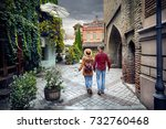 tourist woman in brown hat and...   Shutterstock . vector #732760468