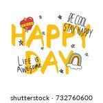 cool t shirt design in doodle... | Shutterstock .eps vector #732760600