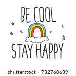 cool t shirt design in doodle... | Shutterstock .eps vector #732760639
