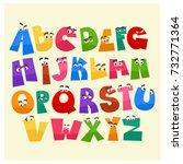 cartoon style alphabet with... | Shutterstock .eps vector #732771364
