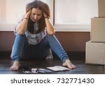 stressed young asian woman... | Shutterstock . vector #732771430