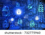 internet security concept with... | Shutterstock . vector #732775960