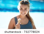happy woman eating cone ice... | Shutterstock . vector #732778024
