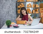 young woman using laptop... | Shutterstock . vector #732784249