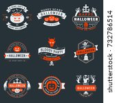 set of happy halloween badges... | Shutterstock .eps vector #732786514