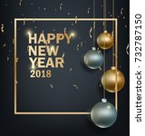 happy new year 2018 greeting... | Shutterstock . vector #732787150