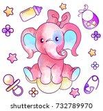 pastel watercolor toy elephant... | Shutterstock . vector #732789970