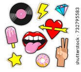 set of colorful stickers.... | Shutterstock .eps vector #732795583