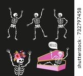 funny skeletons in different... | Shutterstock .eps vector #732797458