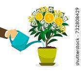 hand watering money tree in... | Shutterstock .eps vector #732808429