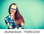 thinking woman with big nerdy... | Shutterstock . vector #732811210
