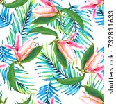 seamless tropical floral... | Shutterstock . vector #732811633