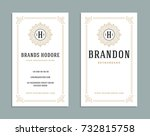 business card vintage ornament... | Shutterstock .eps vector #732815758