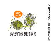 artichoke isolated set. hand...   Shutterstock .eps vector #732822250