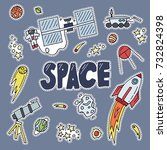 space patch vector illustration.... | Shutterstock .eps vector #732824398