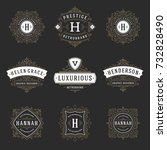 luxury logos templates set ... | Shutterstock .eps vector #732828490