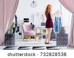 fashionably dressed woman...   Shutterstock . vector #732828538