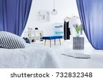 pillow on bed in...   Shutterstock . vector #732832348