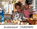 african american father and...   Shutterstock . vector #732839890