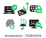 cyber security and threads icon ... | Shutterstock .eps vector #732841054