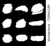 set of hand painted white brush ... | Shutterstock .eps vector #732841189