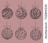 black contours of christmas...   Shutterstock . vector #732844234