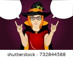 halloween. girl in hat and...   Shutterstock .eps vector #732844588