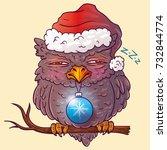 dormant new year's owl. owl in... | Shutterstock . vector #732844774