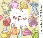 perfume bottles hand drawn... | Shutterstock .eps vector #732844960