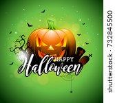 happy halloween illustration... | Shutterstock . vector #732845500