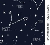 pisces. seamless pattern with... | Shutterstock .eps vector #732846298