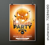 halloween party  illustration... | Shutterstock . vector #732846400