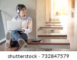 young asian man with glasses... | Shutterstock . vector #732847579