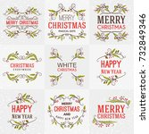 set of merry christmas and... | Shutterstock .eps vector #732849346