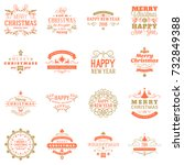 set of merry christmas and... | Shutterstock .eps vector #732849388