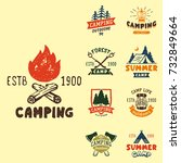 set of vintage woods camp... | Shutterstock .eps vector #732849664