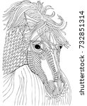 head of the horse. hand drawn... | Shutterstock .eps vector #732851314