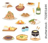 french cuisine traditional food ... | Shutterstock .eps vector #732851644