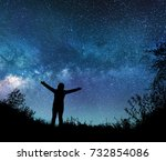 girl watching the stars in... | Shutterstock . vector #732854086