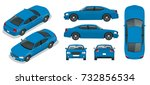 set of sedan cars. isolated car ... | Shutterstock .eps vector #732856534
