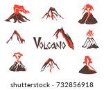 volcano logo set. volcanic... | Shutterstock . vector #732856918