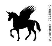 pegasus unicorn silhouette... | Shutterstock .eps vector #732858640