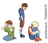 Sad Children  Kids. Boys....