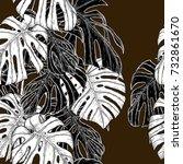 monstera pattern by hand... | Shutterstock .eps vector #732861670