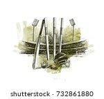 cricket stadium with ball bell...   Shutterstock .eps vector #732861880