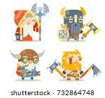 dwarfs warrior defender rune... | Shutterstock .eps vector #732864748