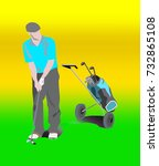 golf man with bag on wheels... | Shutterstock .eps vector #732865108