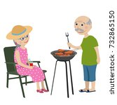 happy grandparents fry steaks... | Shutterstock . vector #732865150