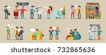 smoking people collection of... | Shutterstock .eps vector #732865636