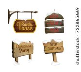 christmas signboards set with... | Shutterstock .eps vector #732865669